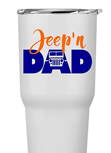 Jeep 4x4 Jeep'n Dad Decal Sticker for Laptop School Phone Cooler...