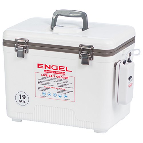 Engel Coolers 13 Quart Live Bait Cooler/Dry Box with Air Pump,...