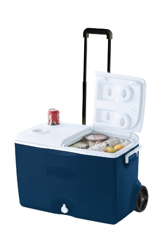 Rubbermaid Ice Chest/Cooler, Blue, 60-quart Wheeled...