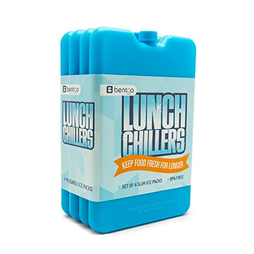 Bentgo Ice Lunch Chillers  Ultra-thin Ice Packs (4 Pack - Blue)