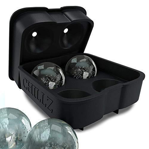 Chillz Ice Ball Maker Mold - Black Flexible Silicone Ice Tray -...