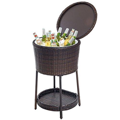 Giantex Rattan Ice Bucket Bar Table Cooler Patio Wicker...