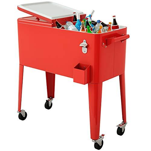 Giantex 80 Quart Cooler Cart Outdoor Cooler Cart on Wheels Patio...