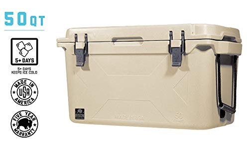 BISON COOLERS Medium 50 Quart Rotomolded Cooler Box for Beer,...