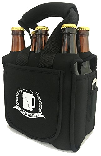 L&L Brew Works Six Pack Craft Beer Carrier, Neoprene Six Pack...