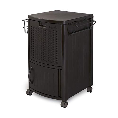 Suncast Resin Wicker Outdoor Cooler with Wheels - Portable...