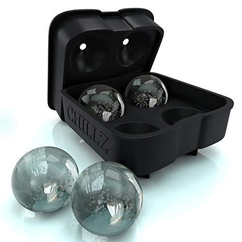 Chillz Ice Ball Maker Mold - Black Flexible...