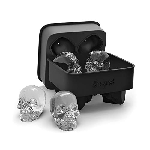 3D Skull Flexible Silicone Ice Cube Mold Tray, Makes Four Giant...