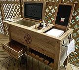 Outdoor Patio Cooler Bar Cart - Wooden Rustic...