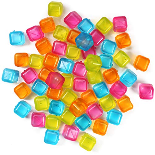 (60-Pack) Reusable Ice Cubes, Plastic Squares for Drinks Like...