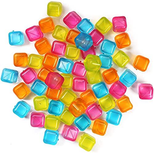 (60-Pack) Reusable Ice Cubes, Plastic Squares...