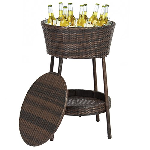 Best Choice Products Wicker Ice Bucket Outdoor Patio Furniture...