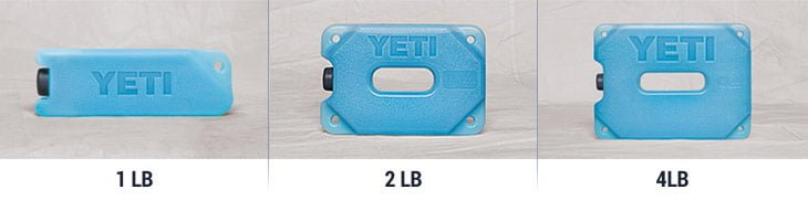 YETI ice refreezable packs sizes