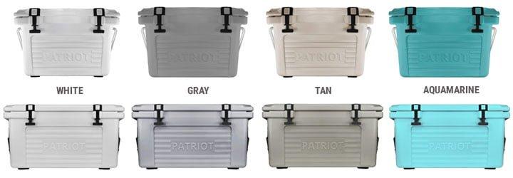 patriot coolers color sizes